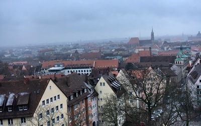 The view from our room in Nuremberg, Germany.