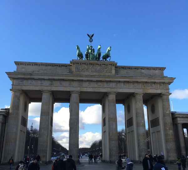 "A view of the Brandenburg Gate on our first day in Germany. This was one of many sites we saw throughout our walking tour of Berlin.<a href=""/reason/images/738749_orig.jpg"" title=""High res"">∝</a>"