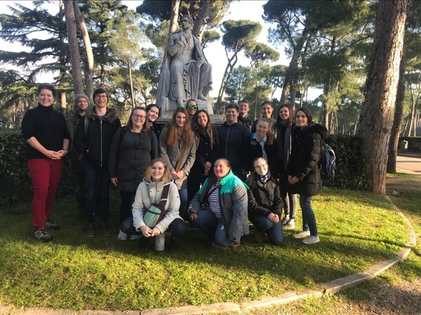 "In front of the statue of Lord Byron at the Borghese Gardens.<a href=""/reason/images/896761_orig.jpg"" title=""High res"">&prop;</a>"