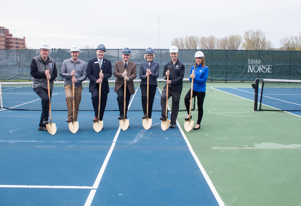"Participating in the ground-breaking ceremony for the Luther College tennis courts were, left to right, Jay Uthoff, director of Facilities Services; Eric Runestad, vice president for finance and administration; Jim Jermier, vice president for development; Jeffrey Anderson, member of Luther's Board of Regents; Paula Carlson, president; Alex Smith, associate director of athletics; Renae Hartl, director of intercollegiate athletics.<a href=""/reason/images/759767_orig.jpg"" title=""High res"">∝</a>"