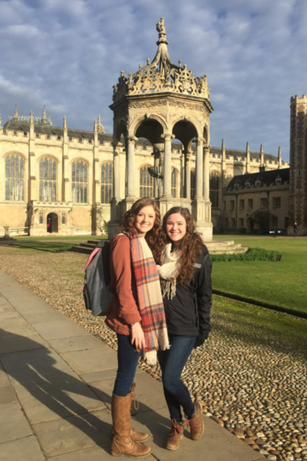 Morgan and Kelli in the courtyard of Trinity College