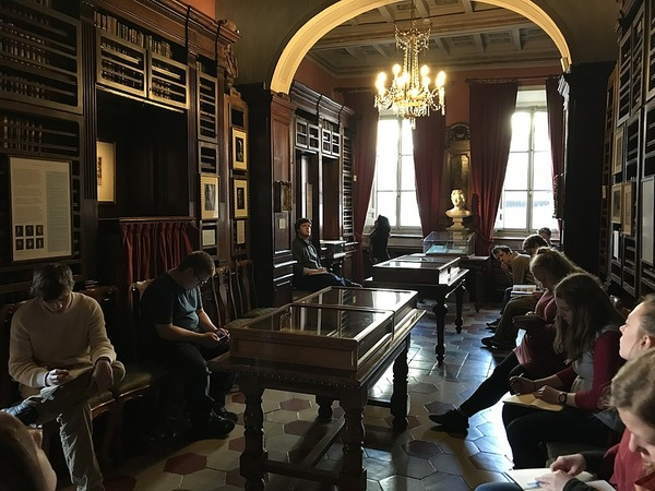 Our class writing inside the Keats-Shelley House. Photo by Isaac Heins '18.