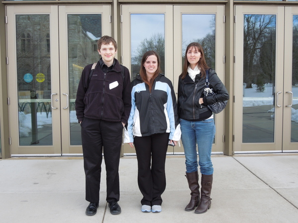 Aaron Kvale, Jessica Ludwig, and Katie Fillmore at the Minnesota Undergraduate Linguistics Conference at St. Olaf April 13, 2013.