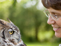 Karla Bloem '94 and Alice the owl