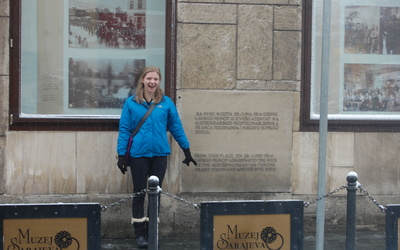Katie at the historical spot where Franz Ferdinand was shot.