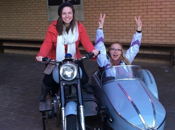 "Gillian and Katelin had fun in Hagrid's motorcycle.<a href=""/reason/images/671787_orig.jpg"" title=""High res"">∝</a>"