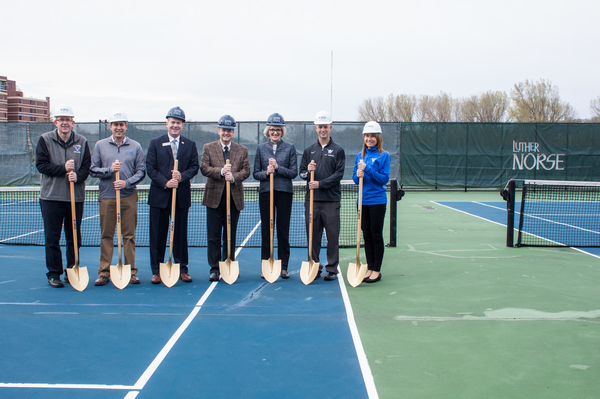 "Participating in the ground-breaking ceremony for the Luther College tennis courts were, left to right, Jay Uthoff, director of Facilities Services; Eric Runestad, vice president for finance and administration; Jim Jermier, vice president for development; Jeffrey Anderson, member of Luther's Board of Regents; Paula Carlson, president; Alex Smith, associate athletic director for operations; Renae Hartl, director of intercollegiate athletics.<a href=""/reason/images/759793_orig.jpg"" title=""High res"">∝</a>"