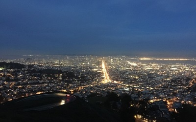 A night time view of Twin Peaks