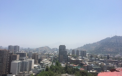 The city of Santiago, as seen from the top of the park.
