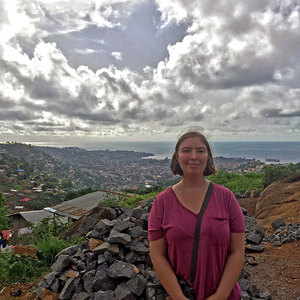 Anderson, pictured here in Freetown, Sierra Leone, in 2018, has taken several trips to the country to study the long-term social and economic impacts of the 2014–16 Ebola crisis.