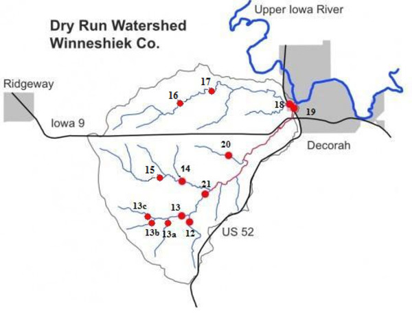 Map of Monitoring Sites in the Dry Run Creek Watershed