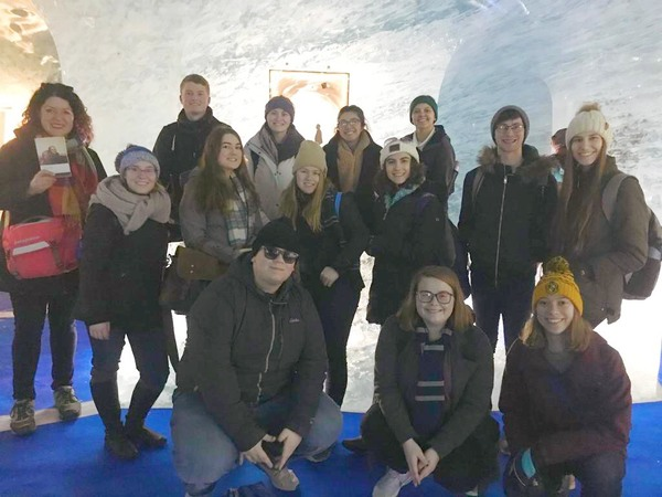 "Some of the group inside the glacier.<a href=""/reason/images/894817_orig.jpg"" title=""High res"">&prop;</a>"