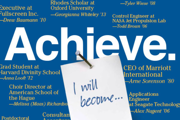"List of students who have won various awards with a caption that reads, ""Achieve."""