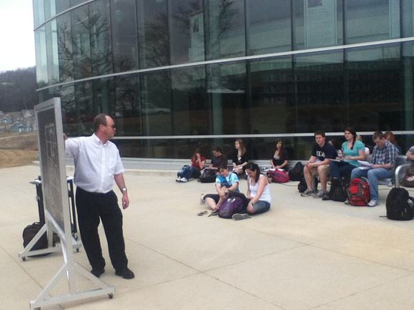 Professor Mertzenich leads class outdoors in the Harvey Wilkins Plaza (just north of and adjacent to the Sampson-Hoffland Laboratories) on 14 March 2012. Thanks to Claire Li for this photo.