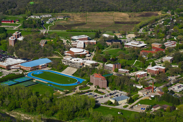 Aerial shot of Luther's campus form the South West.