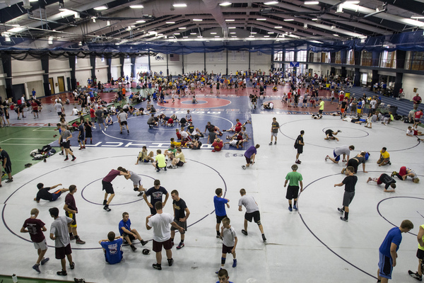 Aerial view of wrestling team camp underway, full of excited campers.