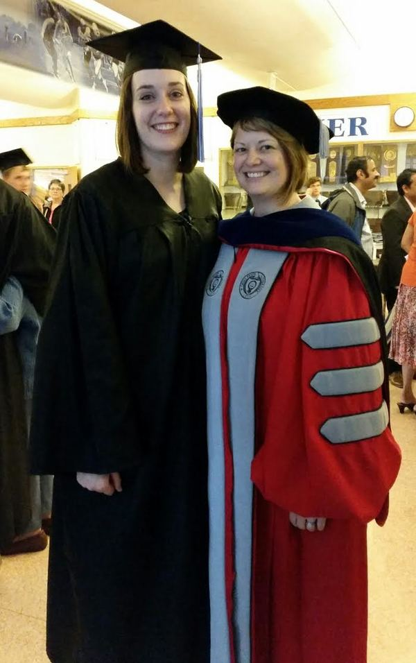 Taylor Kaare (left) with History professor Anna Peterson during 2015 graduation.