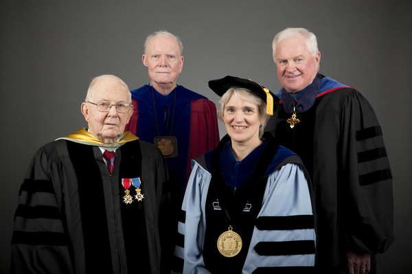 "Elwin D. Farwell, left, with other past presidents H. George Anderson, second from left, and Richard L. Torgerson, far right, and current president, Paula J. Carlson.<a href=""/reason/images/757845_orig.jpg"" title=""High res"">∝</a>"