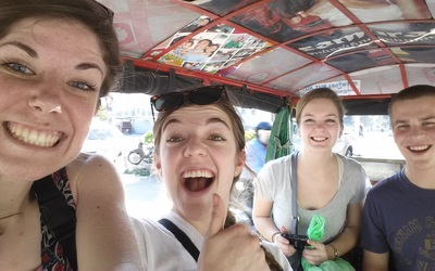 Students taking a ride on one of Cambodia's famour Tuk Tuk's!