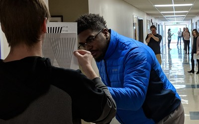 J-term astronomy students measuring angular resolution.