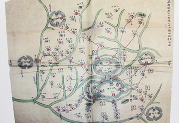 Pre-1913 Chinese map, ink and watercolor on paper.