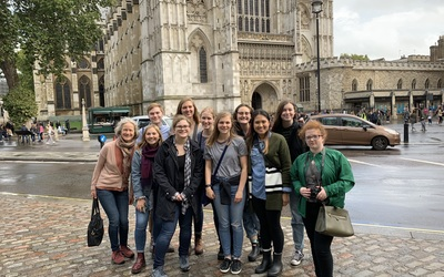 The group in front of Westminster Abbey