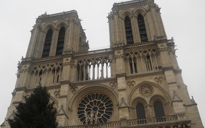 As we walk up to Notre Dame, the bells are ringing. It was a really cool sound to go with the church.
