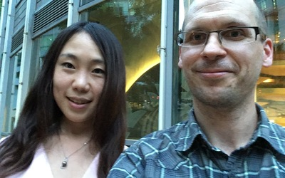 """Folding Beijing"" author Hao Jingfang with Luther professor Andy Hageman"