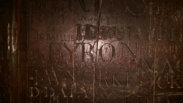 "Byron's name carved into the wall of a room at Harrow School For Boys - this was carved by Byron himself.<a href=""/reason/images/668877_orig.jpg"" title=""High res"">∝</a>"