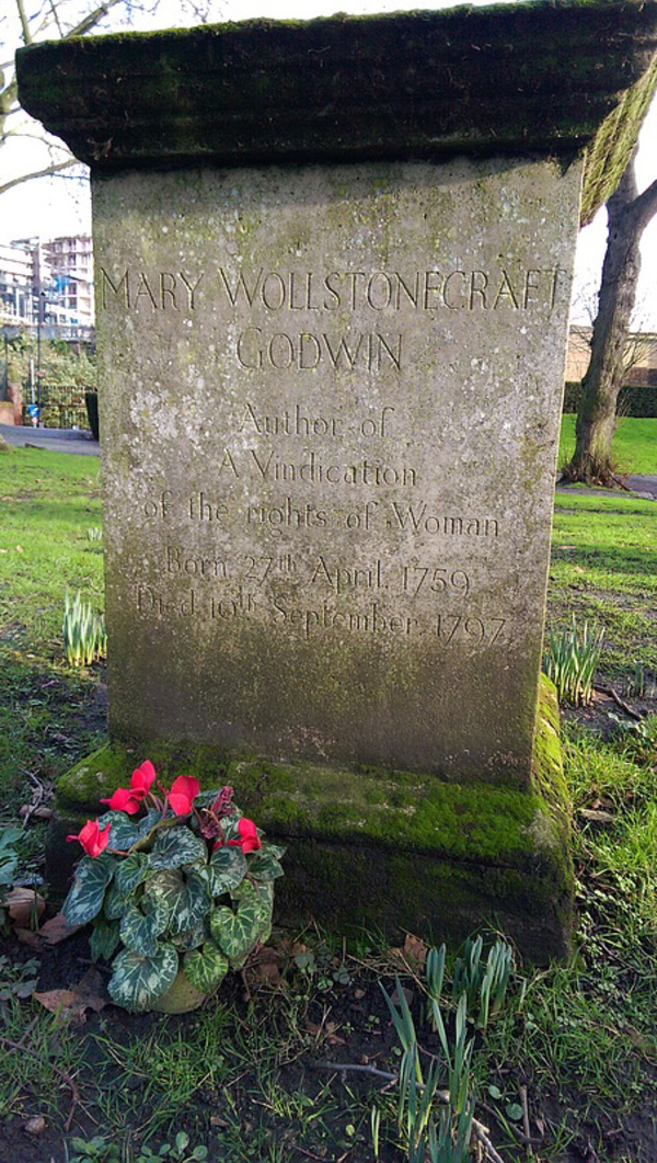 Mary Wollstonecraft's grave at the Old St. Pancras Church Yard.