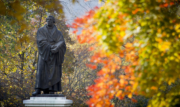 Martin Luther statue on Luther's campus