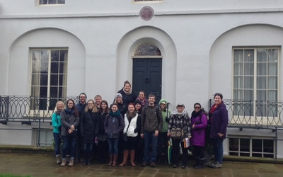 All the Frankensteinians at Keats House Museum in Hampstead, along with our tour guide, Anita Miller!