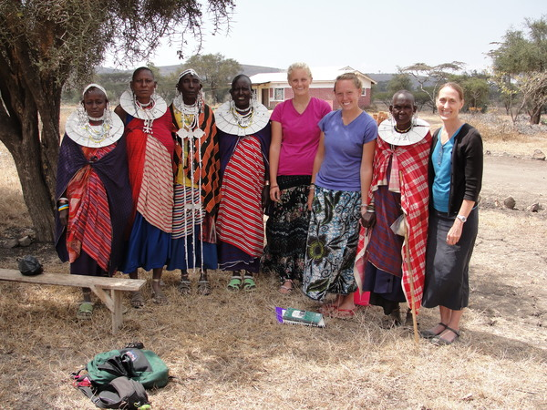 Annie Whiteley ('13), Rachel Hodapp ('13), and Lori Stanley interview Maasai medicinal plant experts. Eluwai, Tanzania, July 2011.