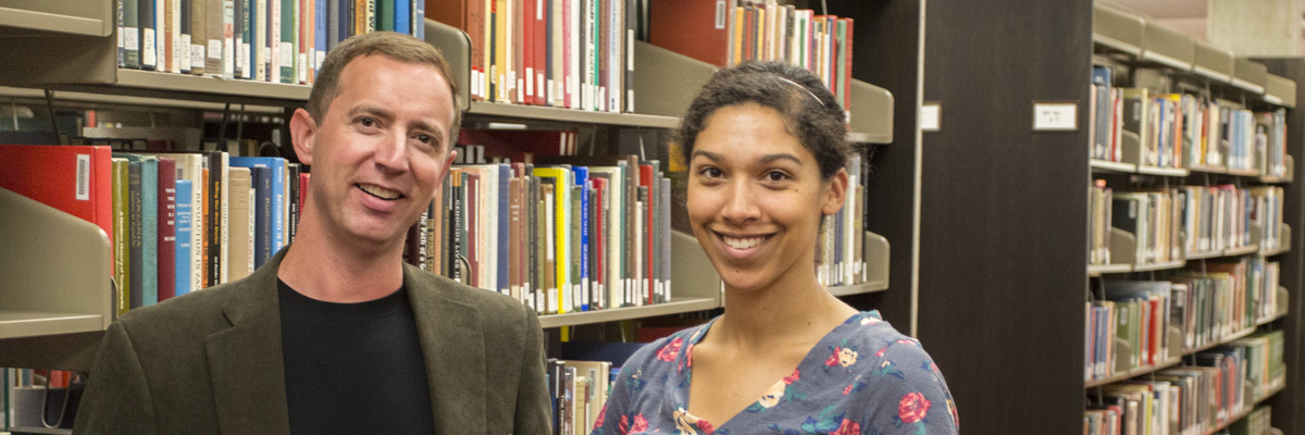 Todd Green and Margaret Steinberg in Preus Library.