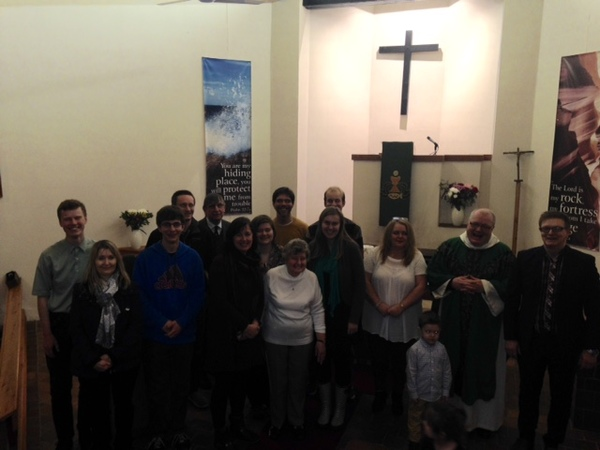 Students with members of the Saint Columba Lutheran Church congregation.