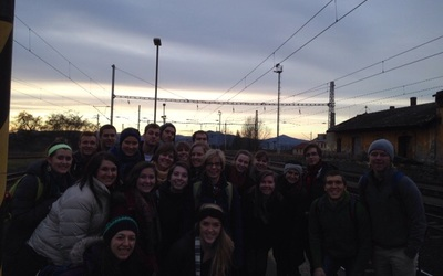 Our group on the train platform in Terezin, Czech Republic.
