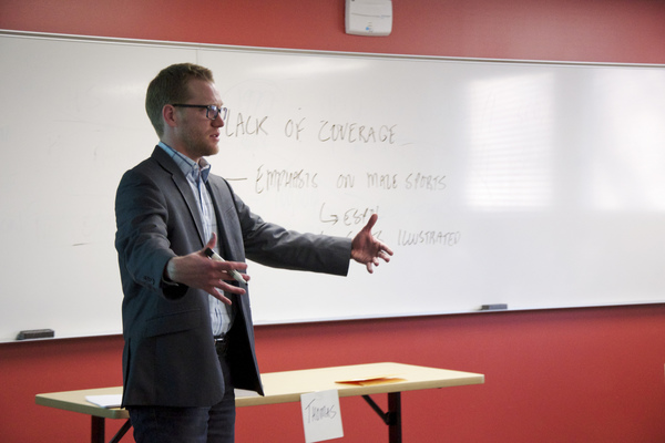 Professor Thomas Johnson teaching a communication studies course over January Term.