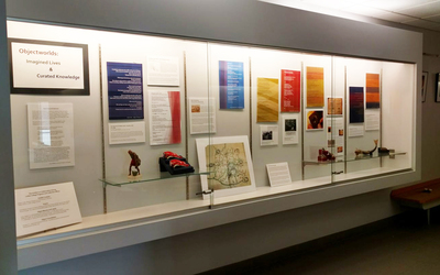 """Objectworlds: Imagined Lives and Curated Knowledge,"" on display in the Olin Building on the Luther College campus."