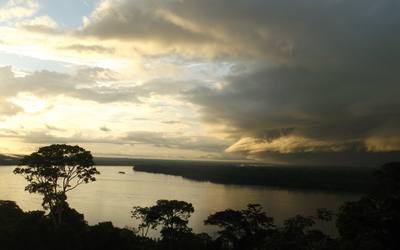 A view of the Napo River as a storm begins to brew off in the east.