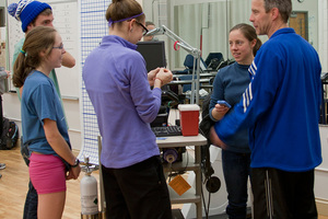 Students participating in a Physiology of Exercise Lab.