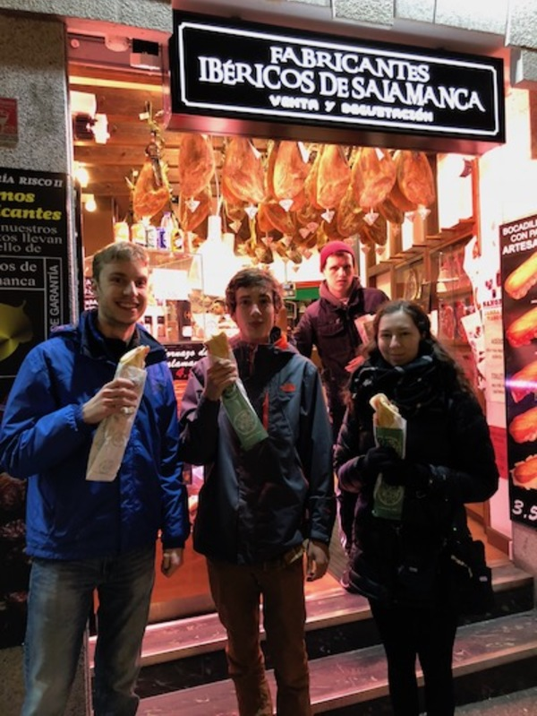 "Enjoing ""un bocadillo con jamón"" after a long day of traveling and exploring"