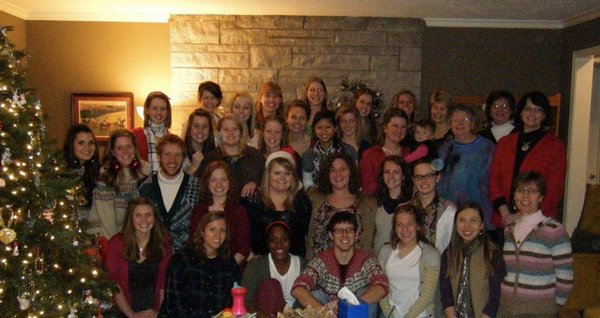 The junior class and faculty gathering to celebrate Christmas and the end of a successful semester