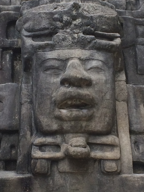 "A detailed look at the Olmec face and jaguar headdress of the Mask Temple.<a href=""/reason/images/798948_orig.jpg"" title=""High res"">∝</a>"