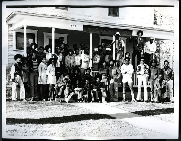 Black Student Union, 1975-1976, on the steps of Sunnyside