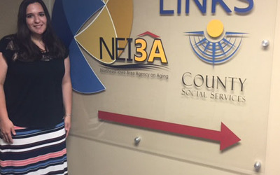 Savannah Hartman, Luther College senior, at her summer internship with the Northeast Iowa Agency on Aging.