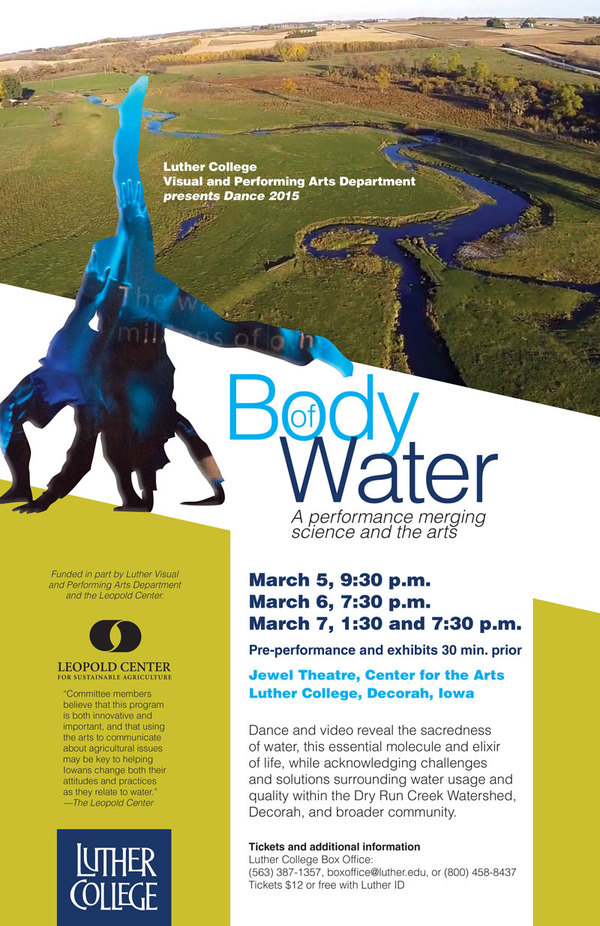 "Poster for the Luther College dance production of ""Body of Water"""