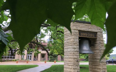 The iconic bell on Luther's campus serves as a symbol of home for the students leaving on their Paideia 450 study abroad trip.