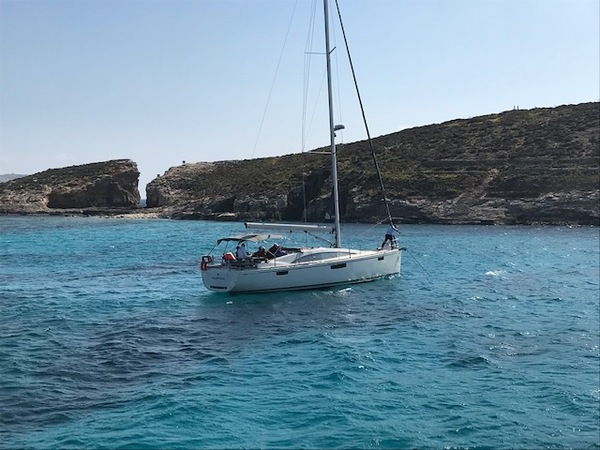 Blue Lagoon on the island of Comino. We enjoyed fresh pineapple salad here.