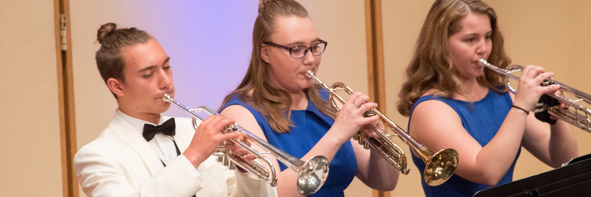 Music scholarships: three trumpet students perform
