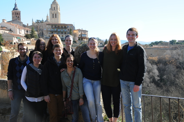 All of us in Segovia (Evie Hoff isn't in the photo, unfortunately). Behind us is the main part of town.